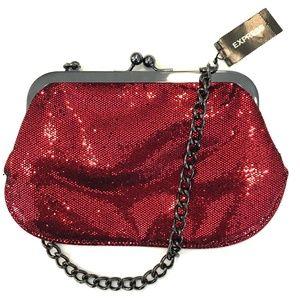 Express New Red Glitter Clutch Evening Bag